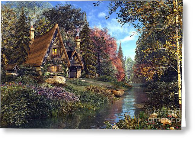 Stream Digital Art Greeting Cards - Fairytale Cottage Greeting Card by Dominic Davison