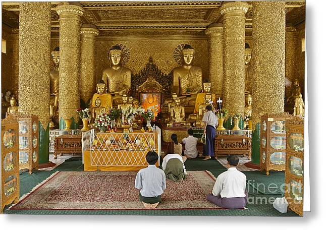 Figurs Greeting Cards - faithful Buddhists praying at Buddha Statues in SHWEDAGON PAGODA Greeting Card by Juergen Ritterbach