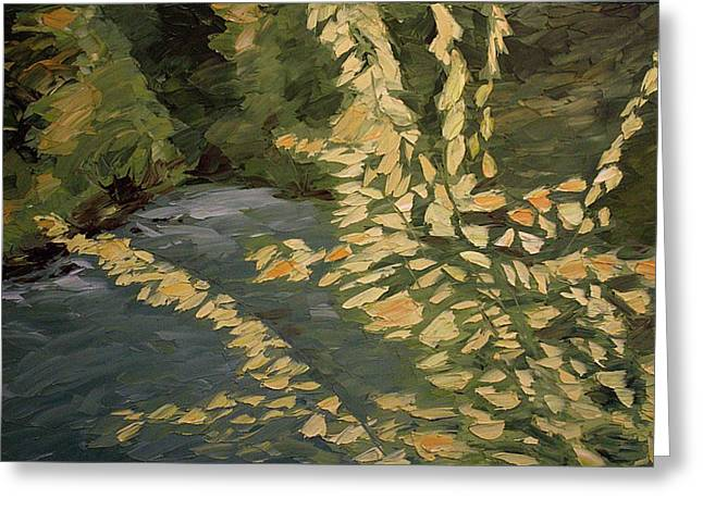 Sensational Paintings Greeting Cards - Fall Day Greeting Card by Michael James Greene