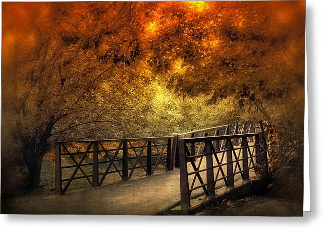 Footbridge Greeting Cards - Fall Footbridge Greeting Card by Jessica Jenney