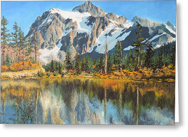 Fall Reflections - Cascade Mountains Greeting Card by Mary Ellen Anderson