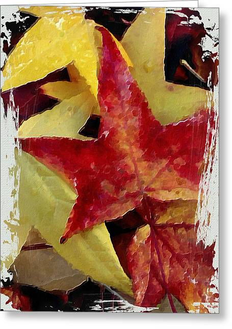 Fallen Leaf Mixed Media Greeting Cards - Fallen Leaves Greeting Card by Bonnie Bruno