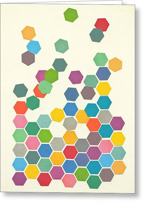 Abstract Geometric Greeting Cards - Falling Down Greeting Card by Cassia Beck