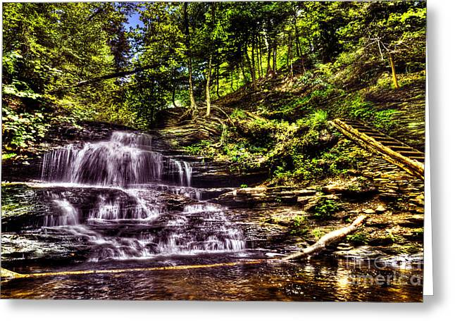 Moss Green Greeting Cards - Falls and Steps Greeting Card by Paul W Faust -  Impressions of Light