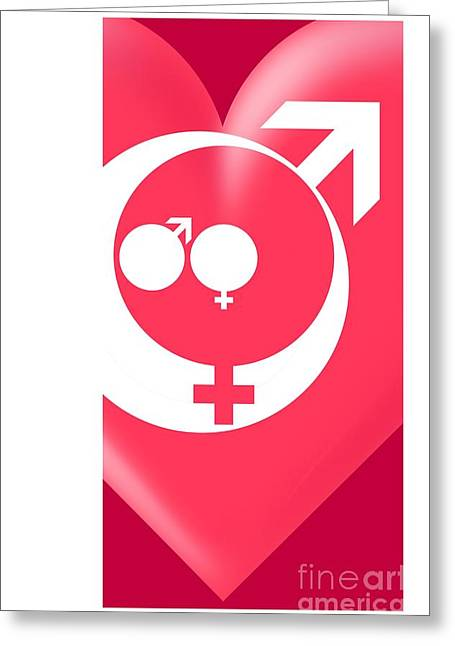 Sociology Greeting Cards - Family Gender And Love Symbols Greeting Card by Detlev van Ravenswaay