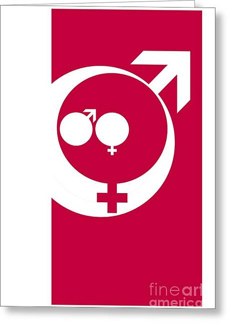 Sociology Photographs Greeting Cards - Family Male And Female Symbols Greeting Card by Detlev van Ravenswaay