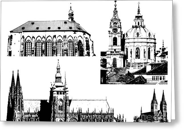 Prague Castle Digital Greeting Cards - famous landmarks of Prague Greeting Card by Michal Boubin