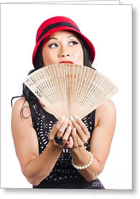 Fan Of Asia. Stylish Chinese Lady With Oriental Fan Greeting Card by Jorgo Photography - Wall Art Gallery