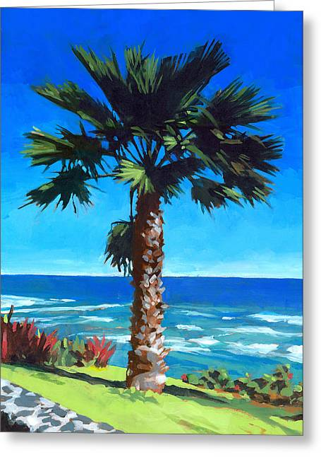 Tropical Oceans Greeting Cards - Fan Palm - Diamond Head Greeting Card by Douglas Simonson