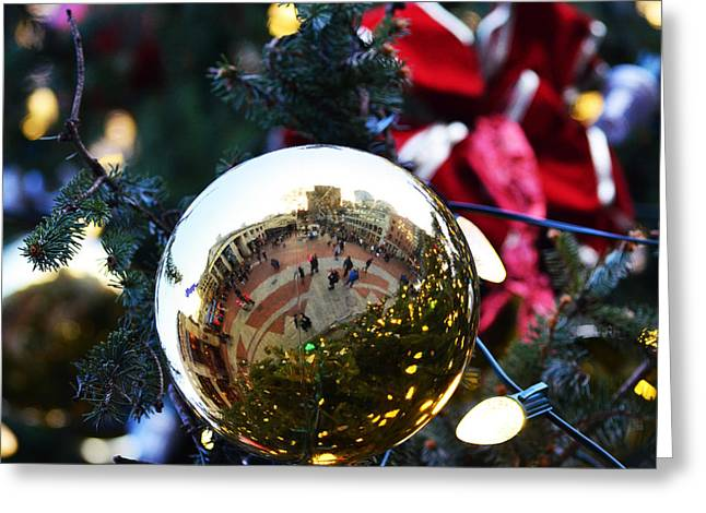 Faneuil Hall Greeting Cards - Faneuil Hall Christmas Tree Ornament Greeting Card by Toby McGuire