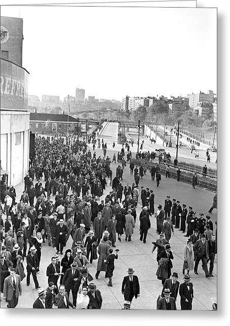 Fans Leaving Yankee Stadium. Greeting Card by Underwood Archives
