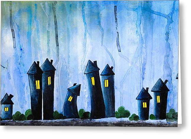 Tranquil Drawings Greeting Cards - Fantasy Art - Night lights Greeting Card by Nirdesha Munasinghe
