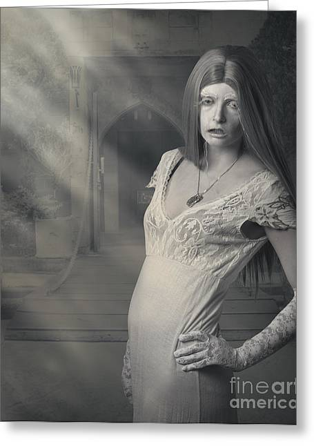 Fantasy Halloween Vampire At Foggy Night Castle Greeting Card by Jorgo Photography - Wall Art Gallery