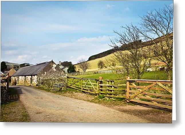 Urban Farm Greeting Cards - Farm buildings Greeting Card by Tom Gowanlock