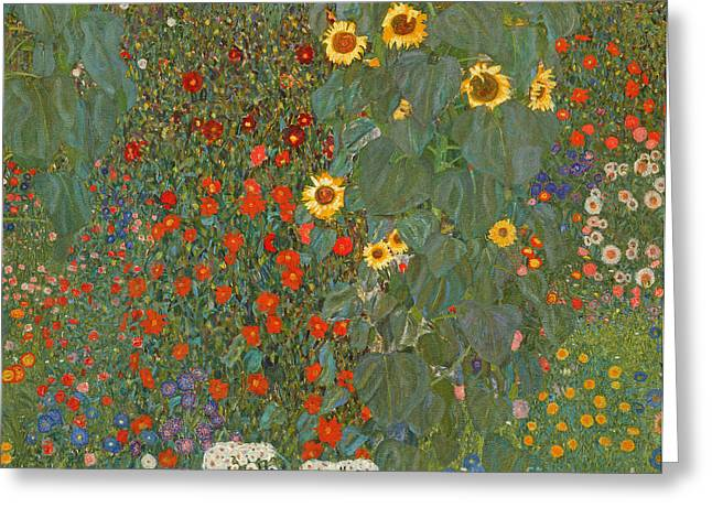 Klimt Greeting Cards - Farm Garden with Sunflowers Greeting Card by Gustav Klimt