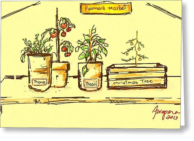 Organic Drawings Greeting Cards - Farmers Market Botanical Section Greeting Card by Patricia Awapara