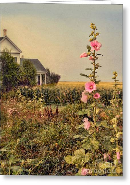 Cornfield Greeting Cards - Farmhouse and Hollyhocks Greeting Card by Jill Battaglia