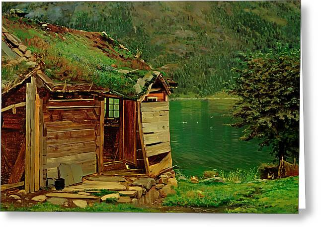 Dilapidated Paintings Greeting Cards - Farmhouse at Balestrand Greeting Card by Amaldus Nielsen