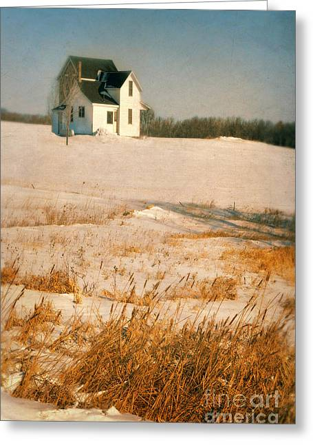 Stone House Greeting Cards - Farmhouse in Winter Greeting Card by Jill Battaglia