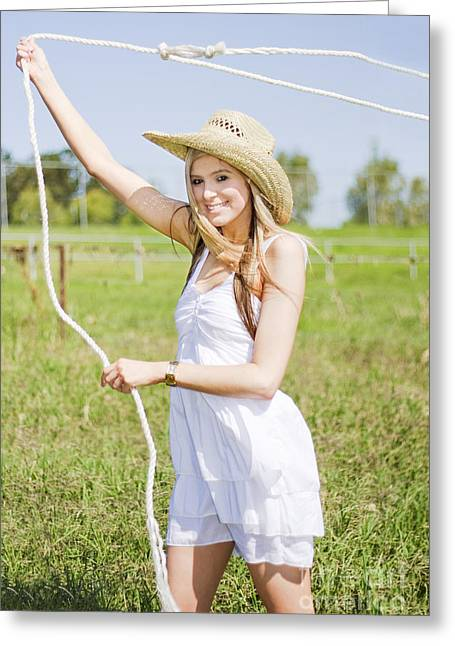 Pretty Cowgirl Greeting Cards - Farming Woman With Rope Greeting Card by Ryan Jorgensen