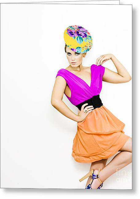 Plunging Greeting Cards - Fashion Model In Bright Colored Blouse Greeting Card by Ryan Jorgensen