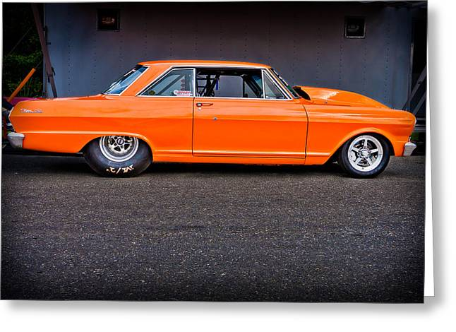 Dragway Greeting Cards - Fast Orange Greeting Card by Jeff Sinon