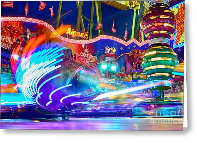 Muenchen Greeting Cards - Fast Ride at the Octoberfest in Munich Greeting Card by Sabine Jacobs