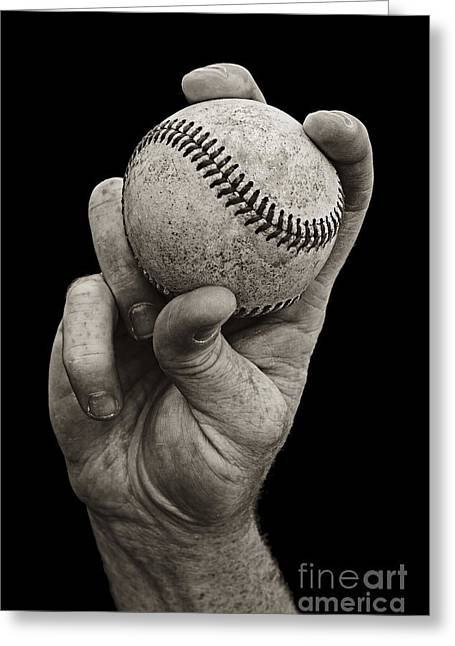 Sepia Greeting Cards - Fastball Greeting Card by Diane Diederich