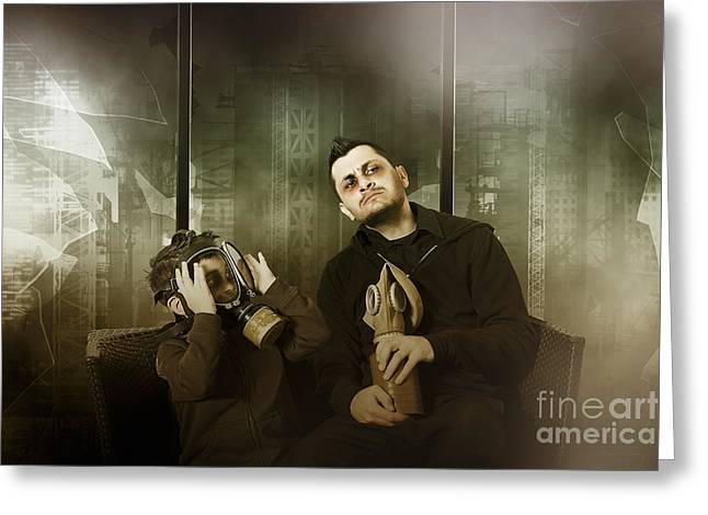 Terrorist Greeting Cards - Father and son in gasmask. Nuclear terror attack Greeting Card by Ryan Jorgensen