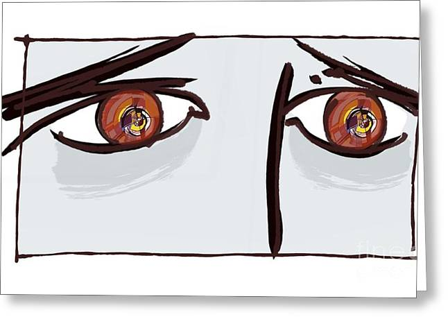 Psychiatric Greeting Cards - Fearful Eyes, Artwork Greeting Card by Paul Brown