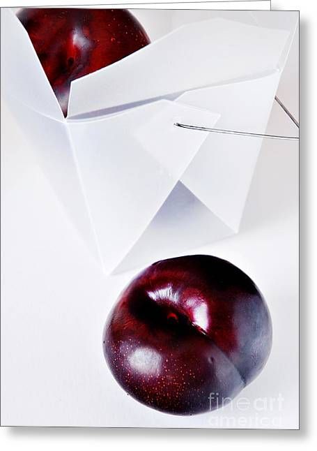 Plum Greeting Cards - Feather With Stones Greeting Card by HD Connelly