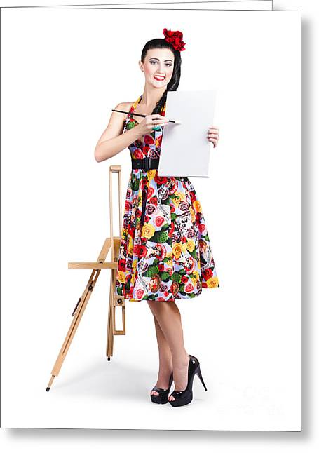 Vintage Painter Greeting Cards - Female artist painting message on blank canvas  Greeting Card by Ryan Jorgensen