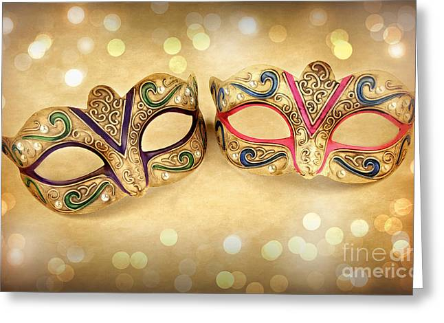 Masking Digital Art Greeting Cards - Female carnival masks Greeting Card by Marzia Giacobbe