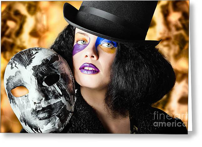 Jester Greeting Cards - Female jester holding carnival mask. Halloween fete  Greeting Card by Ryan Jorgensen