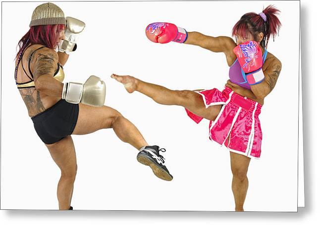 Kickboxers Greeting Cards - Female Kick Boxer  Greeting Card by Ilan Rosen