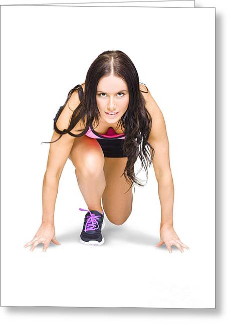 Female Marathon Runner On White Background Greeting Card by Jorgo Photography - Wall Art Gallery
