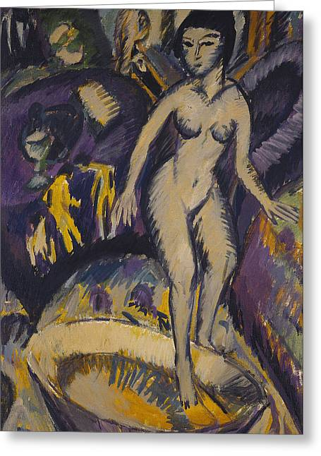 Kirchner Greeting Cards - Female Nude with Hot Tub Greeting Card by Ernst Ludwig Kirchner