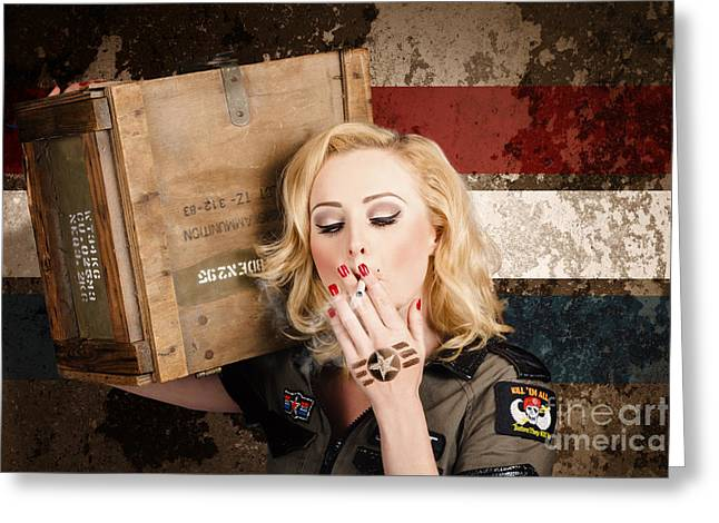 Female Pin-up Solider Smoking Cigarette Ration Greeting Card by Jorgo Photography - Wall Art Gallery
