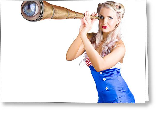 Youthful Greeting Cards - Female sailor with telescope Greeting Card by Ryan Jorgensen
