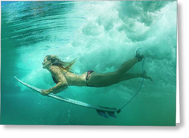 Female Surfer Pushes Under A Wave While Greeting Card by Panoramic Images