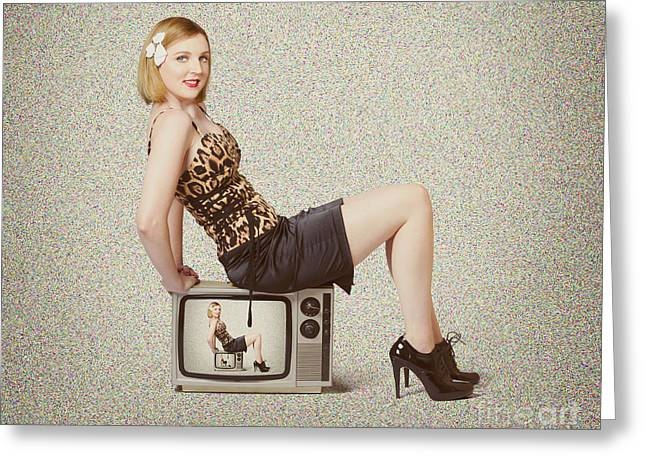 Female Television Show Actress On Old Tv Set Greeting Card by Jorgo Photography - Wall Art Gallery