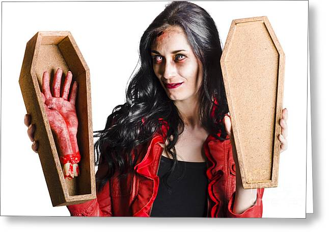 Female Vampire With Good Mourning Welcome Greeting Card by Jorgo Photography - Wall Art Gallery