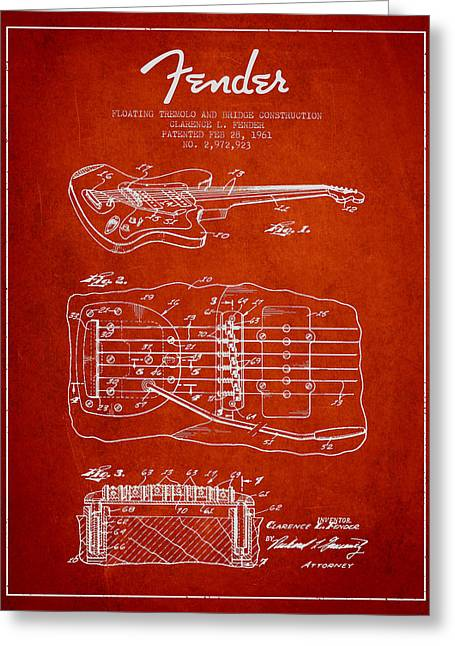 Tremolo Greeting Cards - Fender Floating Tremolo patent Drawing from 1961 - Red Greeting Card by Aged Pixel
