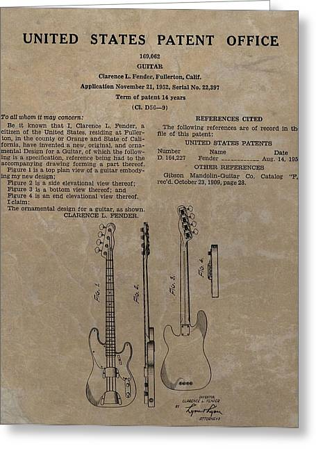 Recording Studio Greeting Cards - Fender Guitar Patent Greeting Card by Dan Sproul