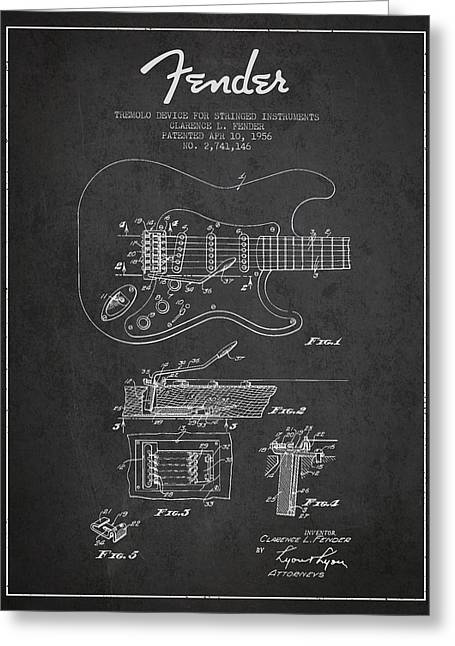 String Instrument Greeting Cards - Fender Tremolo Device patent Drawing from 1956 Greeting Card by Aged Pixel