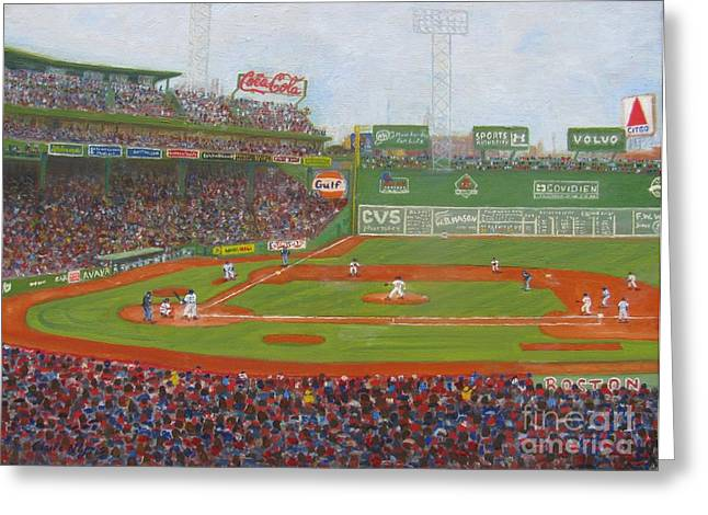 Red Sox Paintings Greeting Cards - Fenway Park Greeting Card by Claire Norris