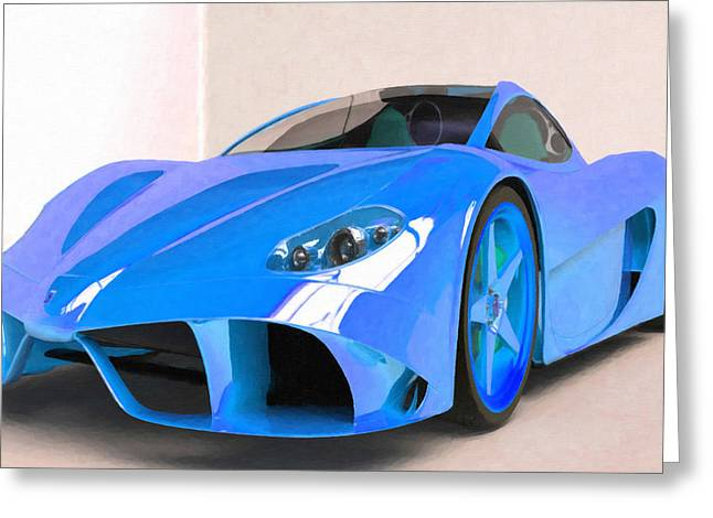 Editorial Paintings Greeting Cards - Ferrari 2 Greeting Card by Lanjee Chee