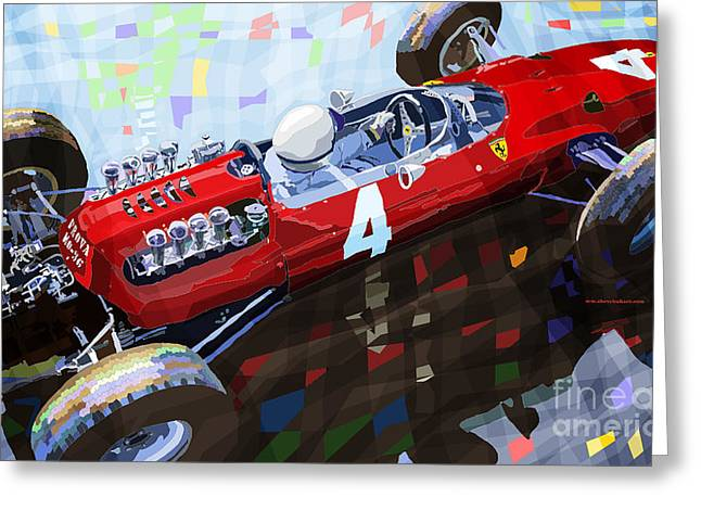 Vintage Auto Greeting Cards - Ferrari 158 F1 1965 Dutch GP Lorenzo Bondini Greeting Card by Yuriy  Shevchuk