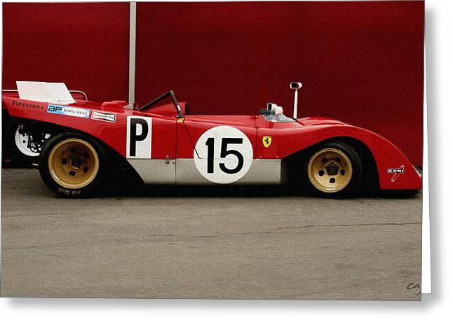 Curt Johnson Greeting Cards - Ferrari 312 1971 Profile Greeting Card by Curt Johnson