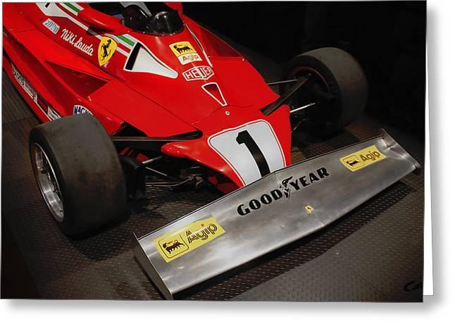 Curt Johnson Greeting Cards - Ferrari 312 T2 F-1 1976 Niki Lauda Greeting Card by Curt Johnson